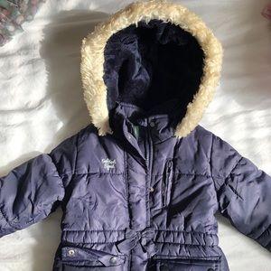 Blue heavyweight winter puffer coat
